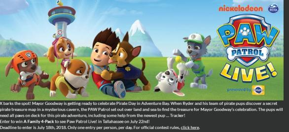 WTXL Official Ticket Giveaway – Stand Chance to Win A Family 4-Pack To See Paw Patrol Live In Tallahassee