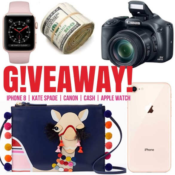 Winner's Choice $2,600 Bundle Giveaway - Chance To Win Iphone 8, Kate Spade, $700 Cash And Canon Camera