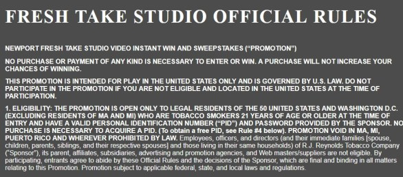 Newport Fresh Take Studio Instant Win Game Sweepstakes - Stand To Win Hollywood Getaway And Home Theater Package