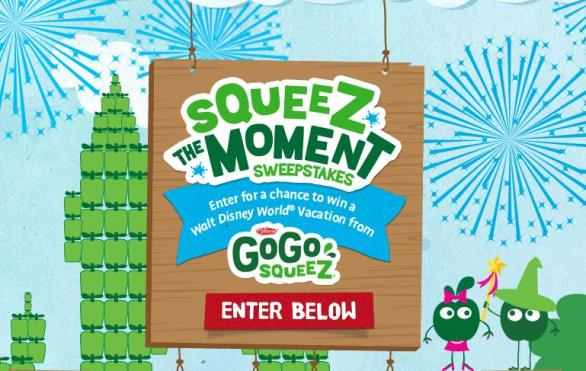GoGo SqueeZ SqueeZ The Moment Sweepstakes - Chance To Win Vacation Package