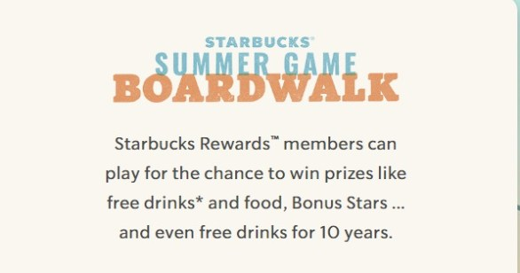 Starbucks Summer Game Boardwalk Instant Win Contest - Enter To Win Free Drinks for 10 Years And 5 Years