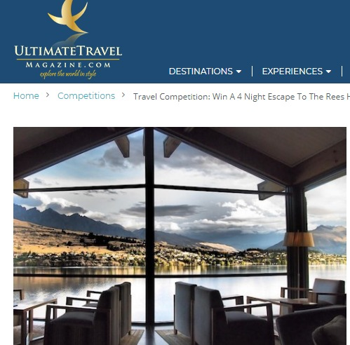 Ultimate Travel Magazine New Zealand Escape Sweepstakes - Enter To Win A 4 Night Escape To The Rees Hotel