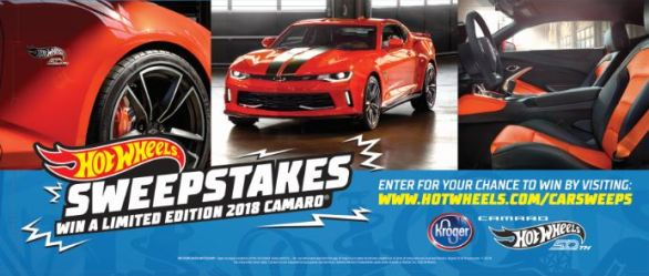 Hot Wheels Chevy Camaro Sweepstakes - Enter To Win One Chevrolet Camaro 2 LT