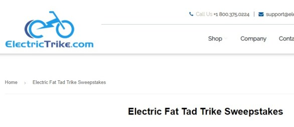Electric Fat Tad Trike Sweepstakes - Stand To Win Electric Fat-Tad Recumbent Tricycle