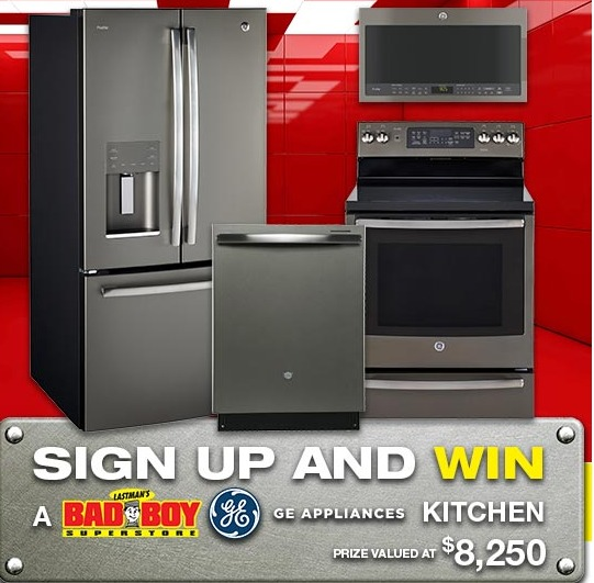 Lastmans Bad Boy Contest - Enter To Win One 4pc GE Appliances kitchen