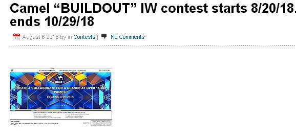 Camel BUILDOUT IW Contest – Win Smart Lighting Pane
