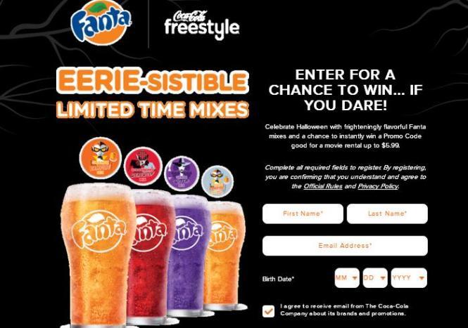 Coca-Cola Freestyle 2018 Fanta Halloween Instant Win Game