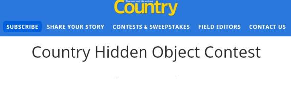 Country Hidden Object Contest – Win A 1-Year Subscription To Country Magazine