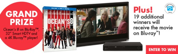 Elle Canada Oceans 8 Contest - Enter To Win A Copy Of Ocean's 8 UHD Blu-Ray Combo Pack