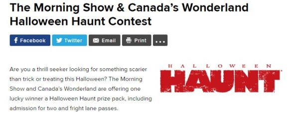 Global News The Morning Show & Canada's Wonderland Contest - Chance To Win A Halloween Haunt prize pack