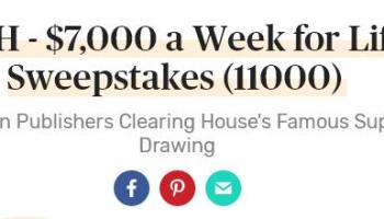 PCH Sweepstakes - Win $1 Million and $1,000 A Week For Life