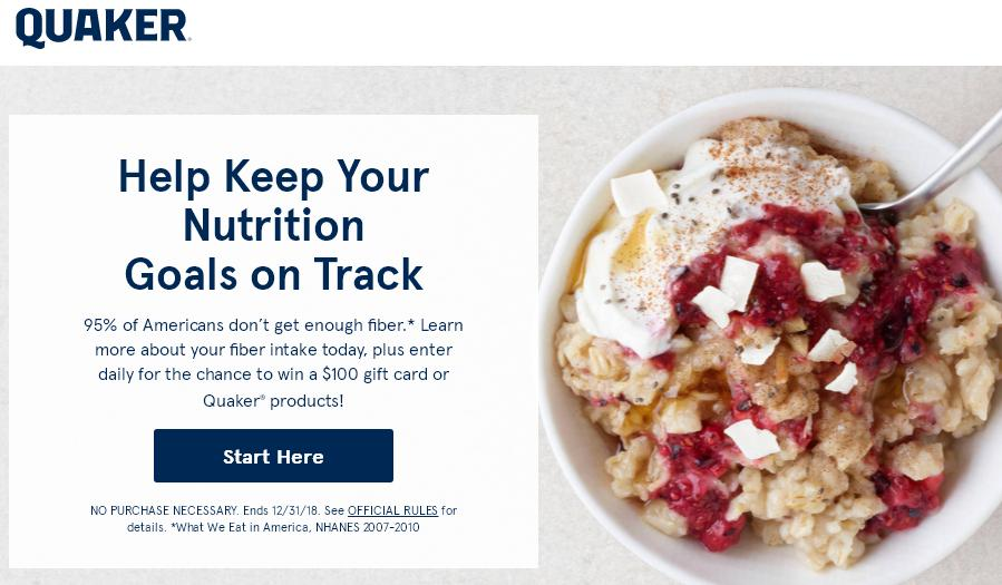 Quaker Oats Fiber Check & Instant Win Sweepstakes – Win A $100.00 Pre-Paid Debit Card