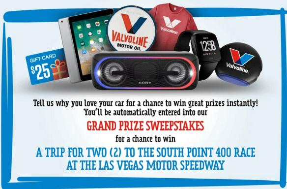 Valvoline Why I Love My Car Contest – Win A Trip To The South Point 400 Race
