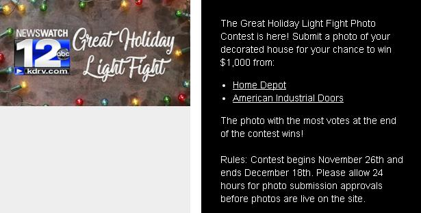 NewsWatch 12 Great Holiday Light Fight Photo Contest – Win $1,000 Prize