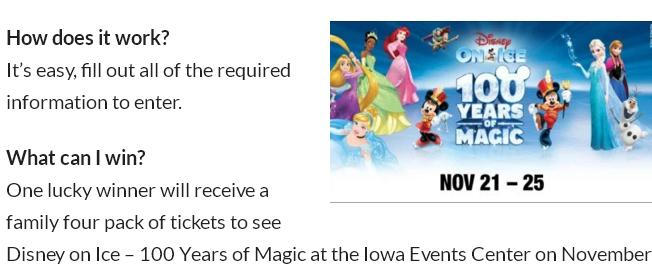 WHO-HD Disney On Ice 100 Years Of Magic Sweepstakes