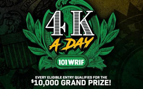 101 WRIF's 4K A Day Giveaway