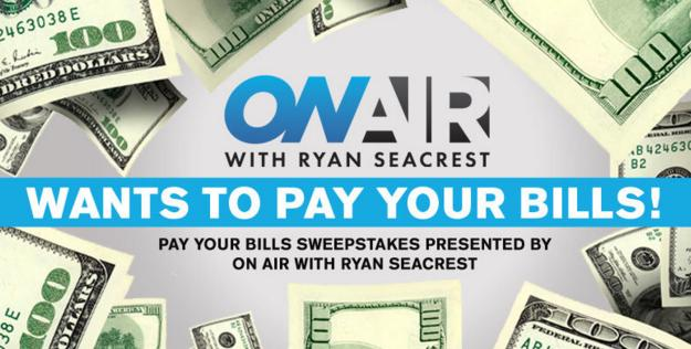 Ryan Seacrest's Pay Your Bills Sweepstakes – Win $2,500 Of Cash Back