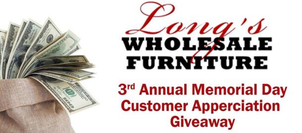 Long's Wholesale Furniture Giveaway – Win A $500 Gift Certificate