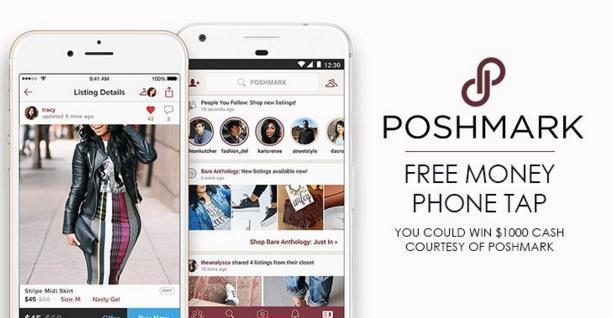 Poshmark Free Money Phone Tap Sweepstakes - Win A $1,000