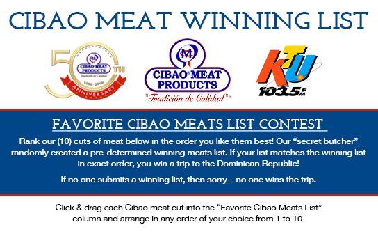 Cibao Meat Winning List Challenge Contest - Win Trip To Punta Cana