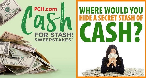PCH Secret Cash Stash Sweepstakes - Chance To Win $20000 Cash