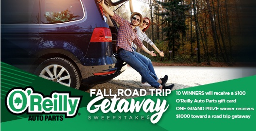 O Reilly Automotive Stores O Reilly Auto Parts Fall Road Trip Getaway Sweepstakes