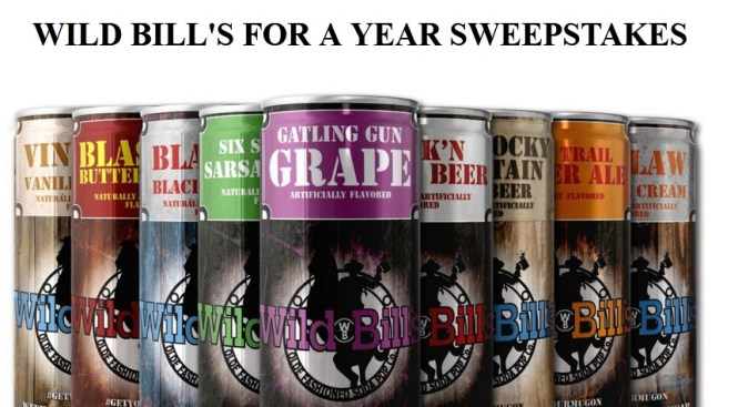 Wild Bill Soda For A Year Sweepstakes