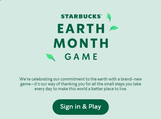 Starbucks Earth Month Game Giveaway