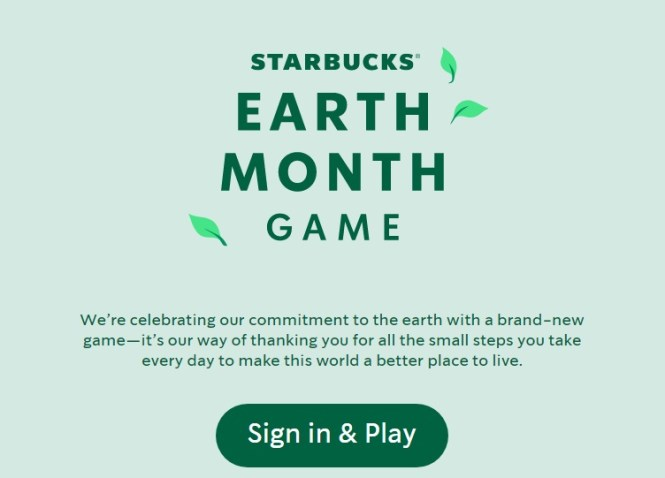 Starbucks Earth Month Game Sweepstakes