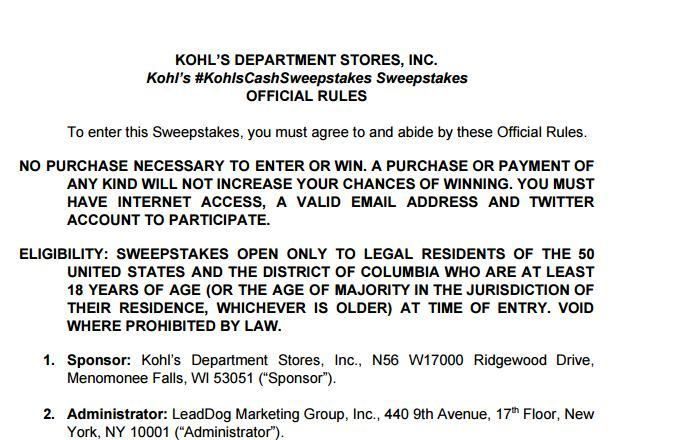 Kohl's Cash Twitter Sweepstakes