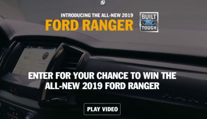 Ford Ranger Drive Tour Sweepstakes - Win A 2019 Ford Ranger Truck