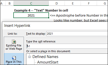text to display for cell with text number