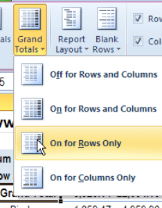 Grand total top rows only also excel pivot table totals rh contextures