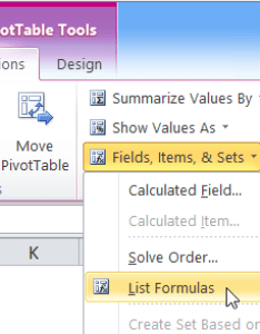 In the calculations group click fields items  sets list formulas also excel pivot table calculated field rh contextures