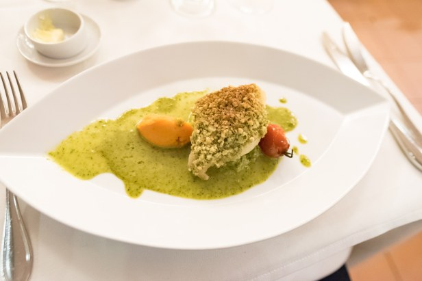 French restaurant in Munich – Nut crusted fish