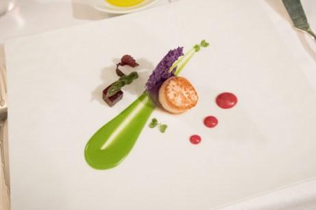 Assaje Restaurant in Rome - Scallop, violet potato, asparagus, beet root