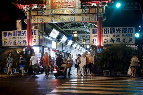 L'entrée du marché de nuit Hwahsi de Taipei