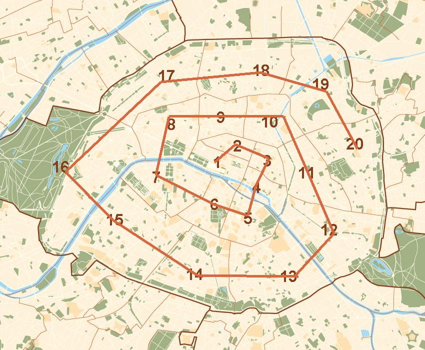 Paris Attractions by Arrondissement - paris neighbourhoods map snail