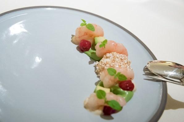Dallmayr, restaurant à Munich: crevettes marinées, avocat, crème sure