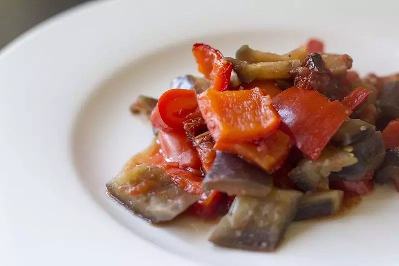 Anthony Bourdain Rome - Caponata, an example of Sicilian Cuisine - photo by Luca Nebuloni under CC-BY-2.0