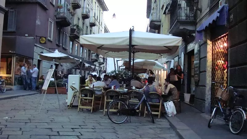cafes and shops in the Brera district of Milan - photo by jay8085 under CC BY 2.0