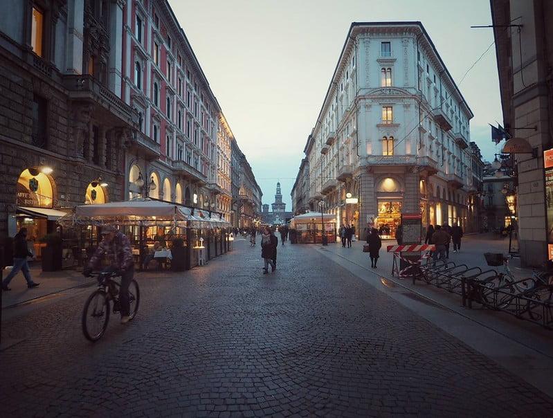 Via Dante in Milan - photo by Ștefan Jurcă under CC BY 2.0