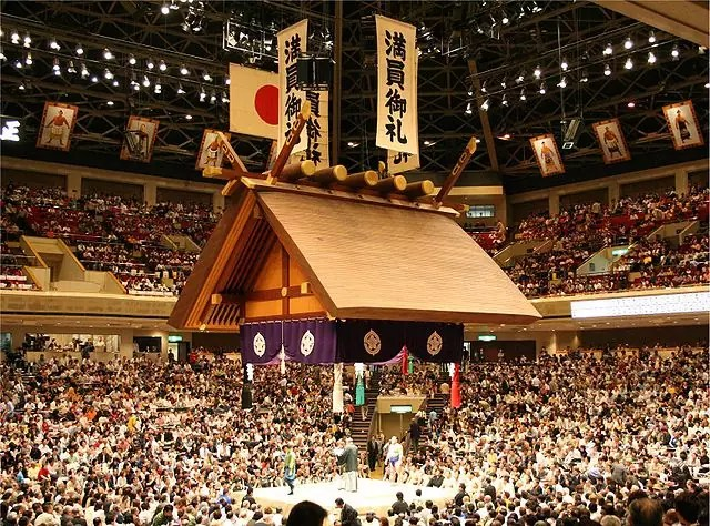 historical sites in Tokyo - Sumo wrestling event at Ryōgoku Kokugikan - photo by Goki under CC-BY-SA-3.0-migrated and CC-BY-SA-2.5