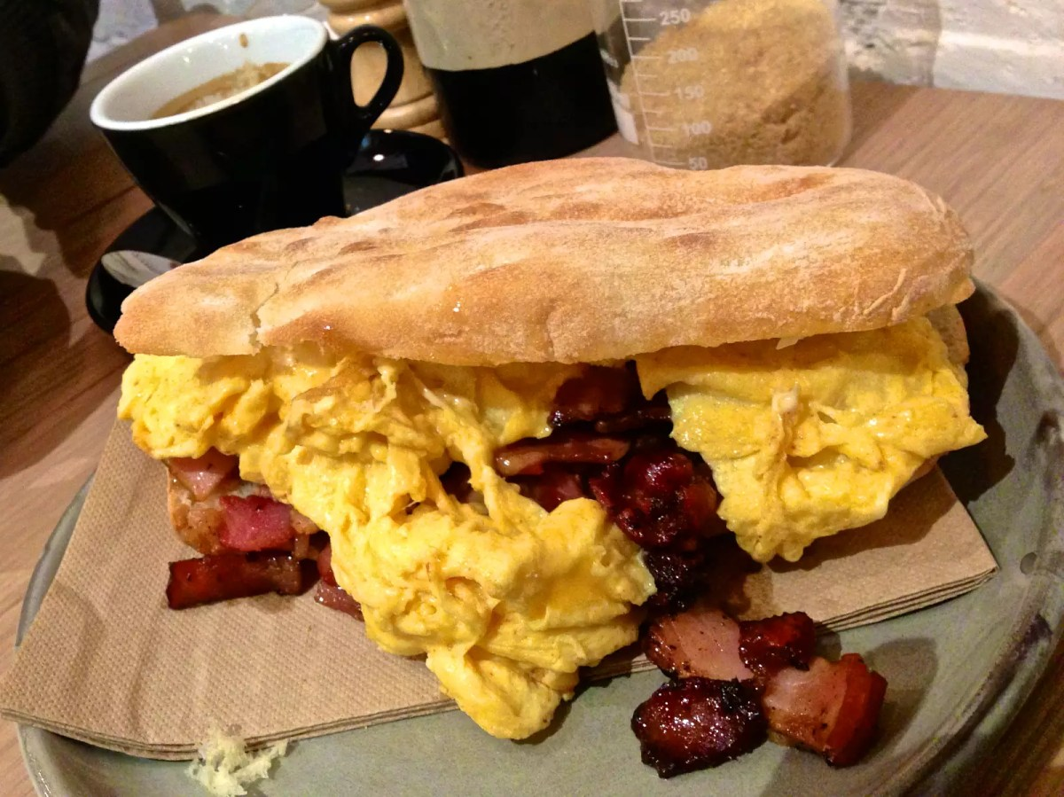 The Layover London - Egg and bacon roll - photo by Katherine Lim under CC BY 2.0