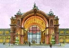 Kalenderblatt Dezember: Nürnberg Hauptbahnhof im Bahnhofkalender der Deutschen Bahn 2016