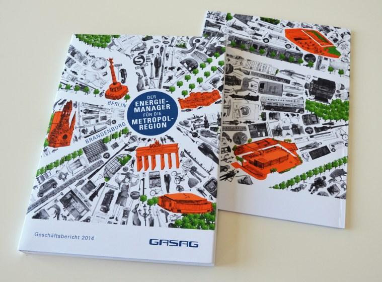 Illustriertes, umlaufendes Cover vom Geschäftsbericht und Magazin Reiseführer Energie 2014 der GASAG