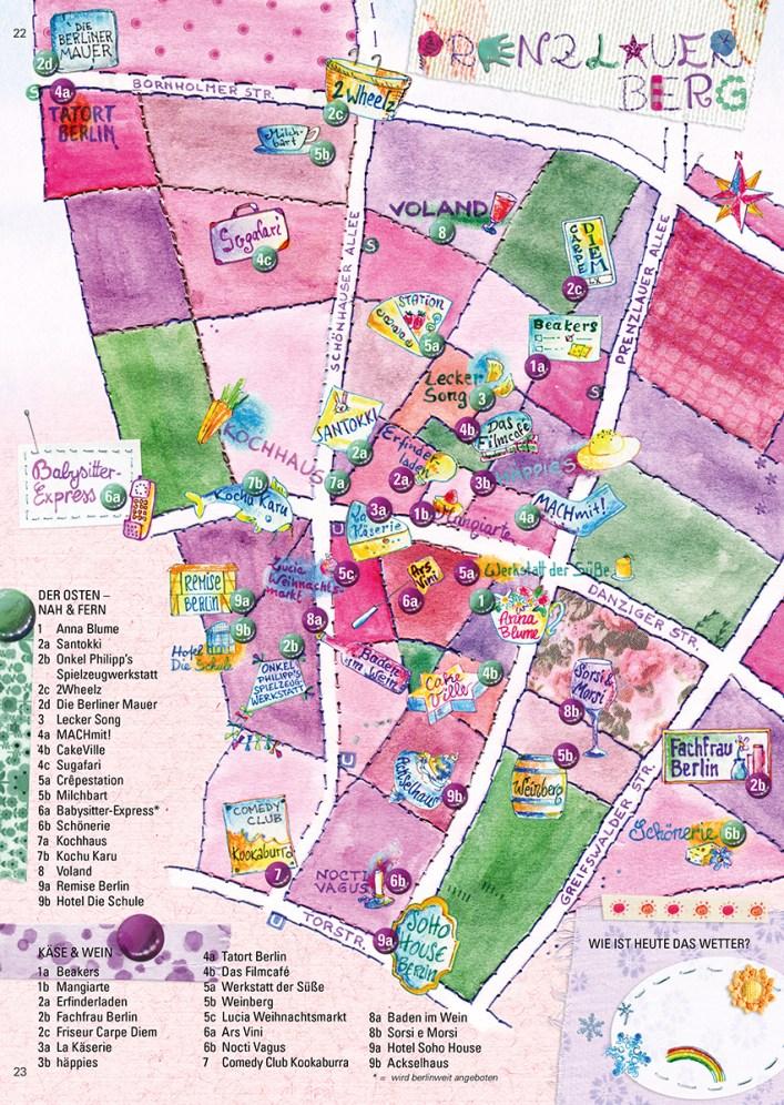Stadtillustration: Illustrierte Bezirkskarte von Prenzlauer Berg