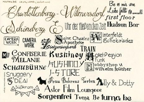 Stadtillustration: Handgeschriebene Schriftzüge für Charlottenburg-Wilmersdorf und Schöneberg und seine Lokalitäten