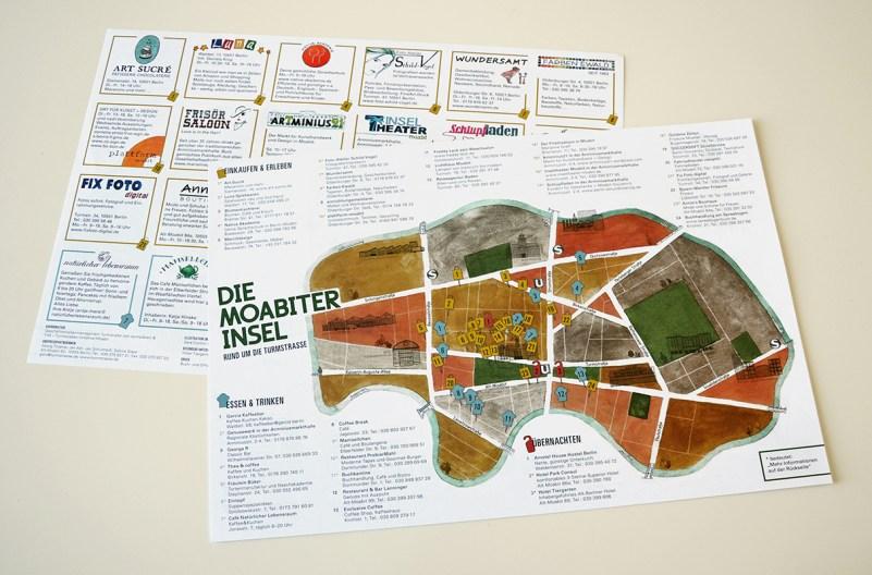 Stadtkarte von Berlin-Moabit auf Abreißklebeblock, Sara Contini-Frank
