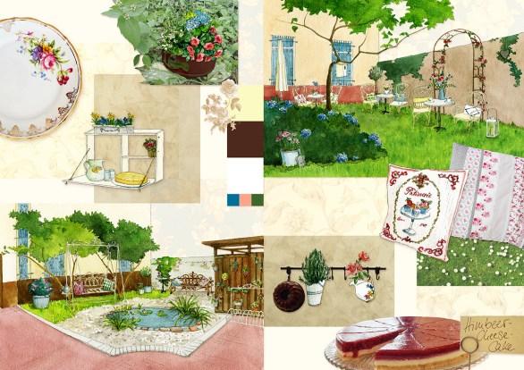 Moodboard zur Neugestaltung des Innenhofs eines Cafés: Fotos, Farbpalette, Illustrationen, einstimmende Elemente